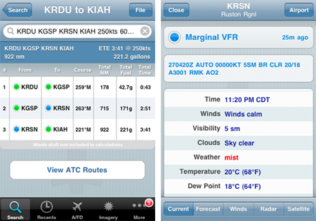 Routes and METARs in ForeFlight Mobile v2.4