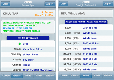TAFs and Winds Aloft in ForeFlight Mobile v2.4