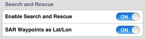 Enable Search and Rescue features in the Settings Menu