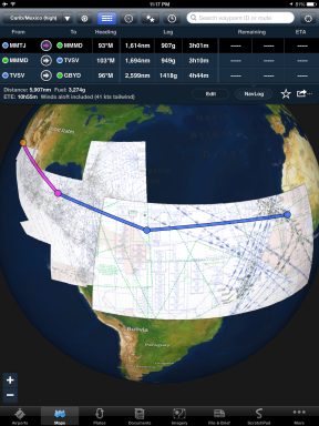 Caribbean and Mexico High Enroute Charts with a flight plan and navlog shown