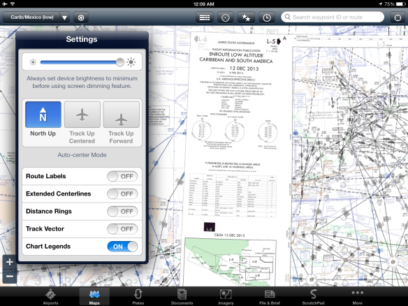 Chart legends map view setting with legend shown on low enroute chart