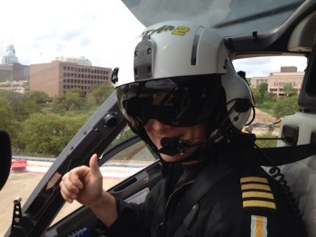 Ryan after a patient flight with PHI Air Medical.