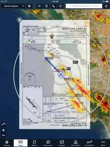Approach plate on Map view shown with flight track overlay.