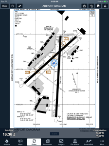 Ownship is shown here on a geo-referenced airport diagram.