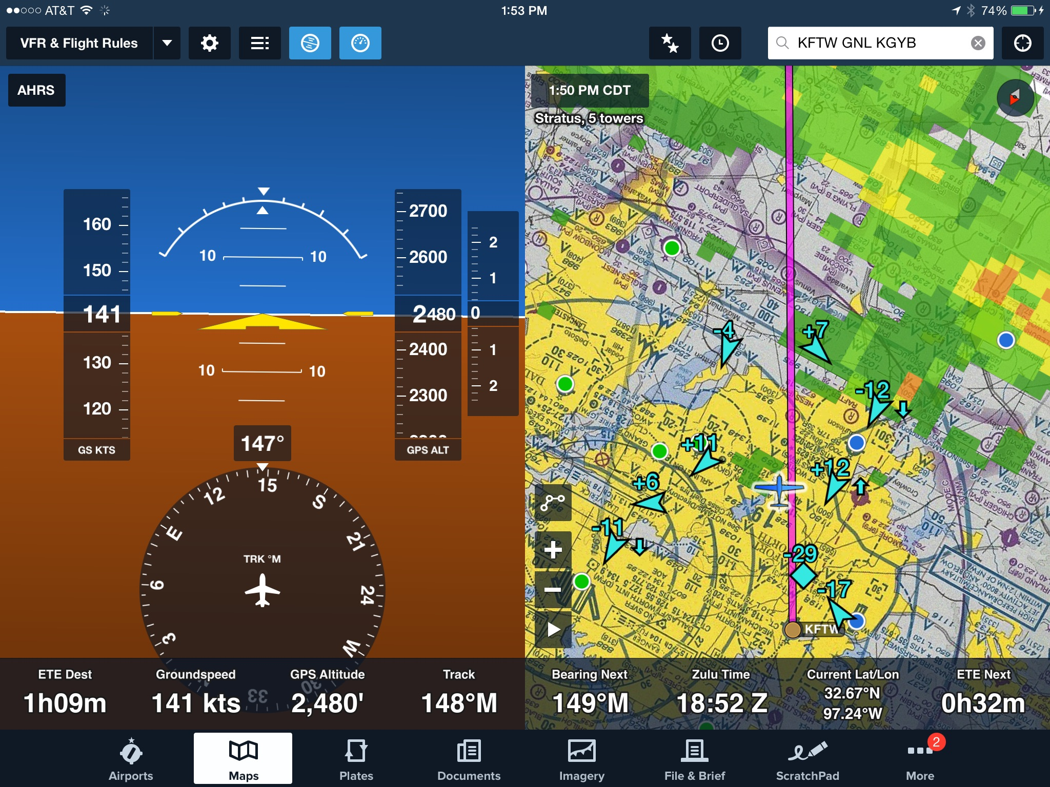 Attitude Indicator with ADS B Traffic and Weather