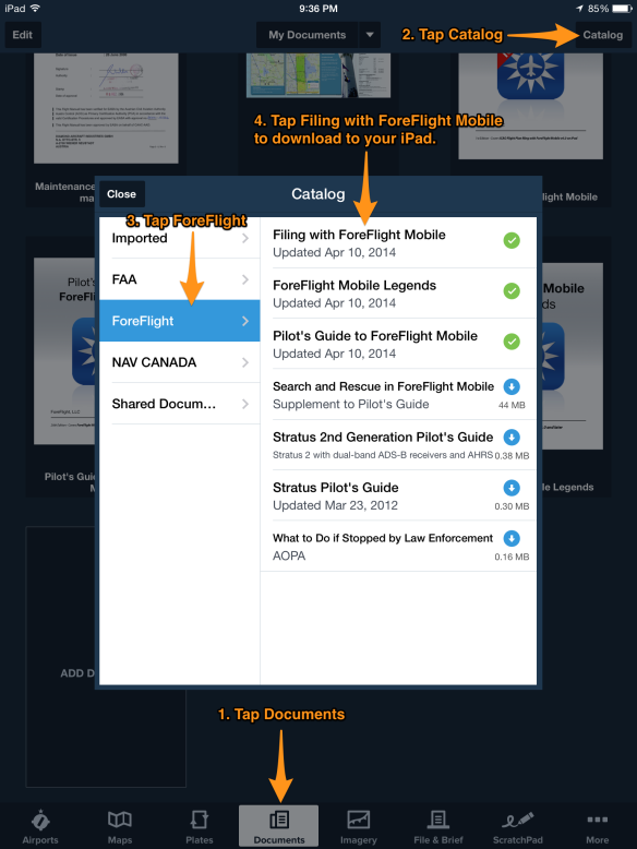 How to add Filing with ForeFlight Mobile to your Documents.