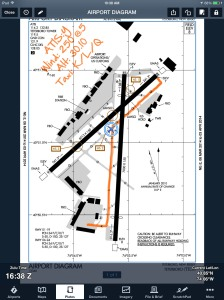 Annotations on the airport diagram are shown