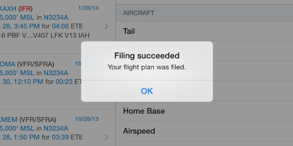 The filing succeeded message appears after tapping the File button, when your flight plan is successfully transmitted to Lockheed Martin.