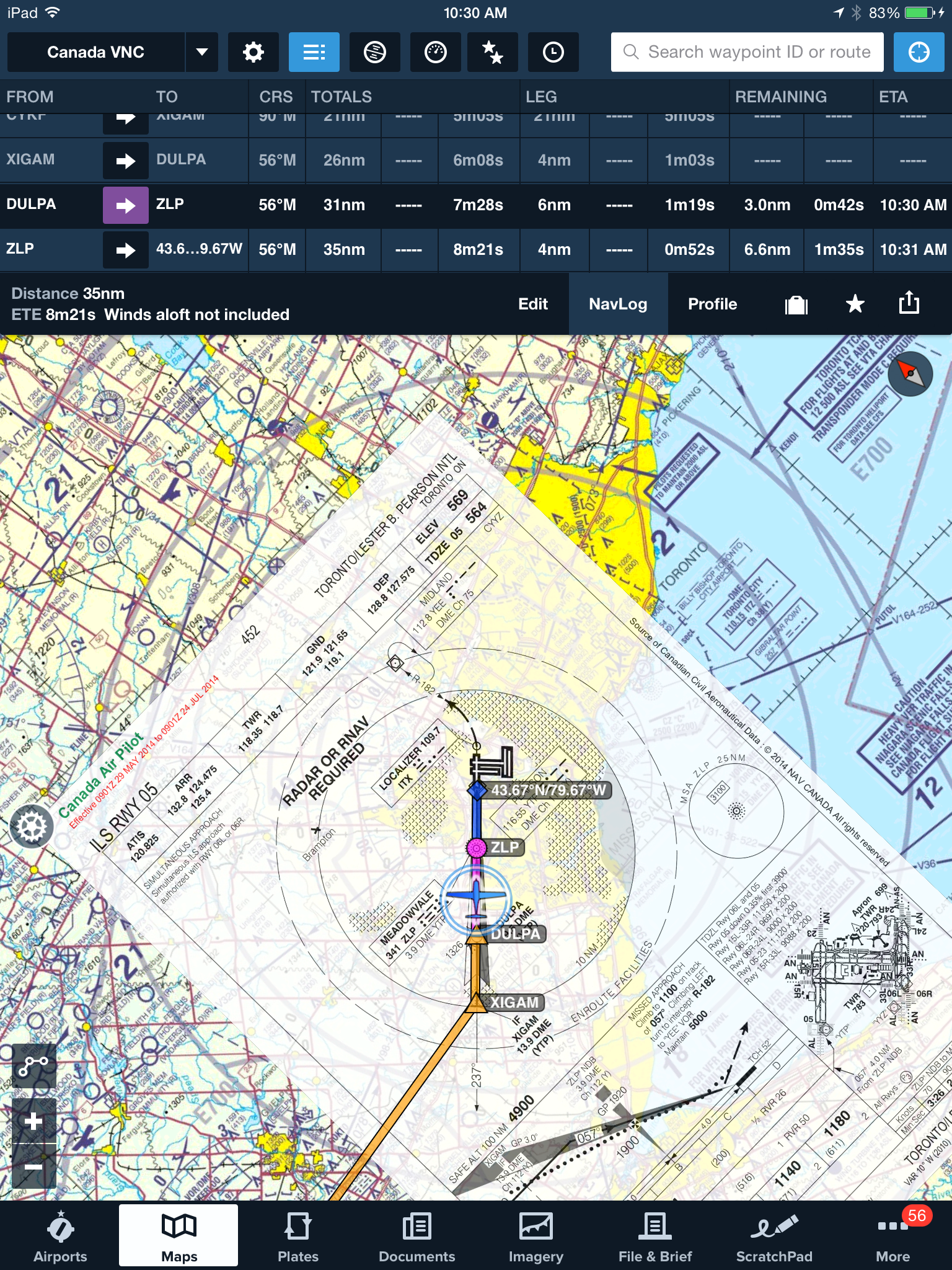 Plates on Maps inflight with approach to Toronto. | ForeFlight