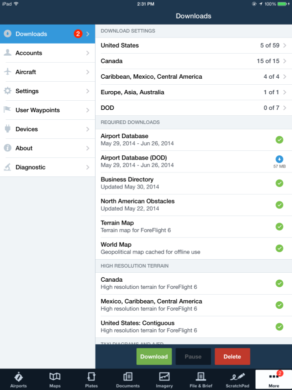 The Downloads view in ForeFlight Mobile.