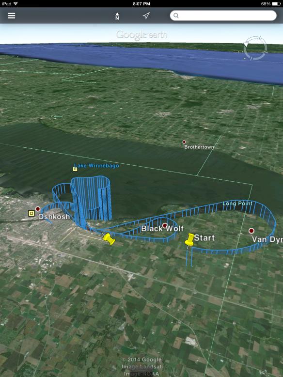 ForeFlight Mobile Track Log shown on Google Earth