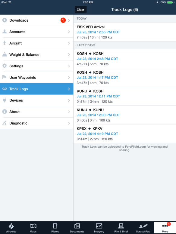 Recorded flights are automatically logged in the More > Track Logs view.