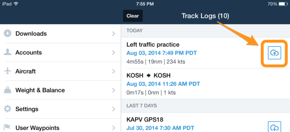 Tap the cloud upload button to enable your track log to be shared.