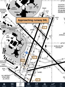 Ownship position shown with ForeFlight Mobile's runway proximity advisor.