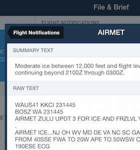 Icing Flight Notification