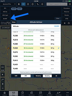 Tap the Altitude button in the Route Editor to access the Altitude Advisor.