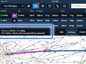 Total trip performance, including taxi and take off fuel, is shown along the bottom of the NavLog.