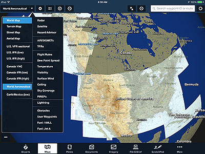 World Aeronautical Charts shown in ForeFlight Mobile.