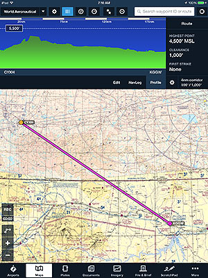 A tip for customers with both US and Canada subscriptions--select World Aeronautical and Canada VNC overlays in the Maps view for a full VFR chart view.