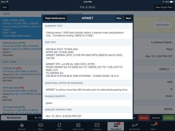 Flight Notifications detail view