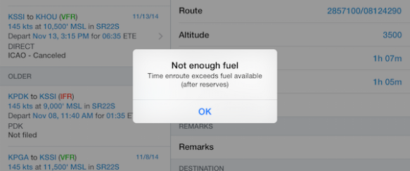 Not enough fuel error