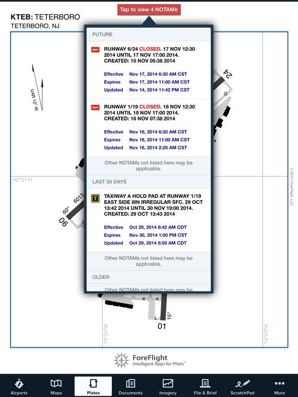NOTAM Advisor on airport diagram