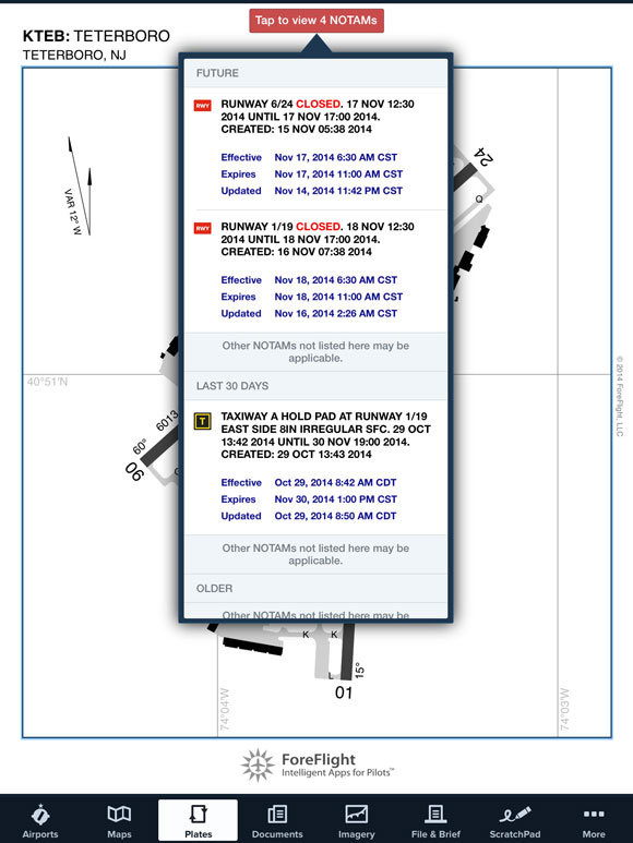NOTAM Advisor on airport diagram