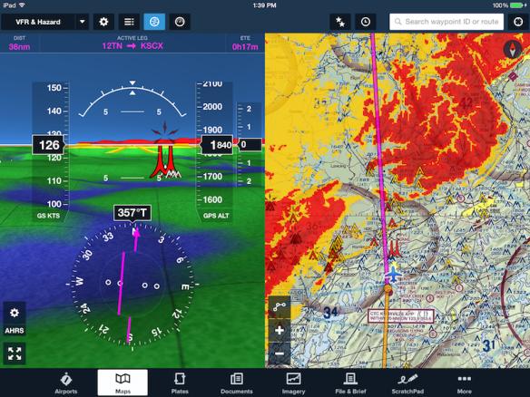 Split screen view with hazard advisor