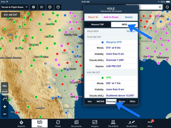 Access the MOS forecast in the Maps view by tapping on an airport.