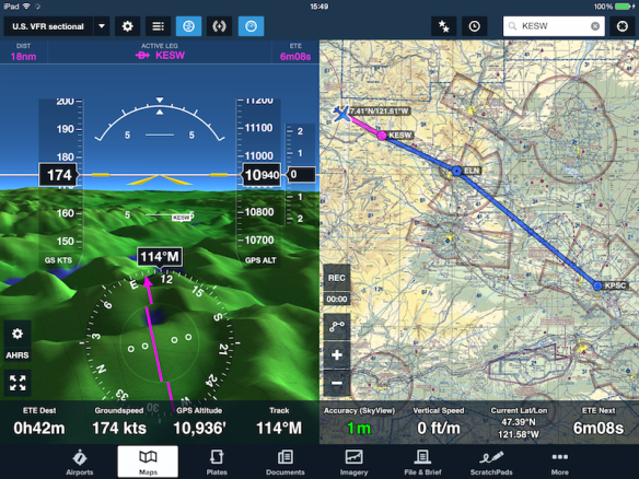 ForeFlight receives the SkyView GPS and AHRS data.