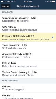 Pressure Alt in the Instrument selector.