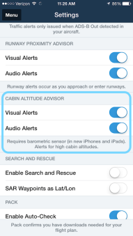 Cabin Altitude Advisor in the Settings menu.