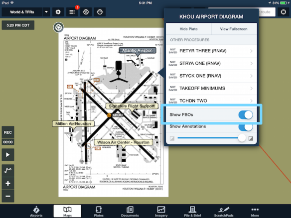 Turn FBO overlay on or off in the Maps view.