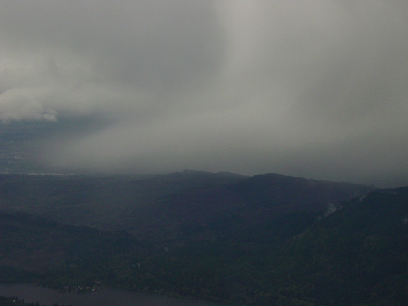 Moist low-level outflow from a thunderstorm.