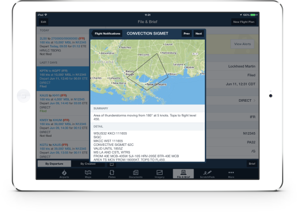 Graphical Flight Notifications on an iPad