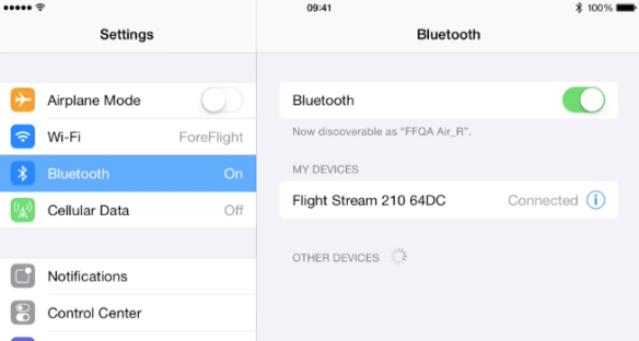 Pair with ForeFlight with Flight Stream via Bluetooth