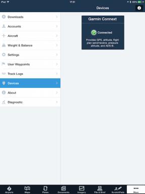 Garmin Connext status information