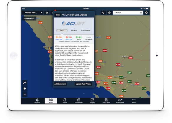 ForeFlight Directory detail view on Maps layer