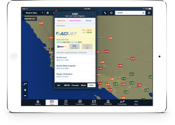 ForeFlight Directory listing on maps view.