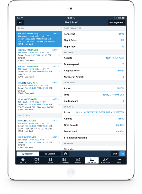 The File & Brief view makes flight plan entry as easy as a few taps