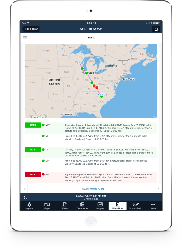ForeFlight Graphical Briefing delivers translated and visual information for enhanced readability
