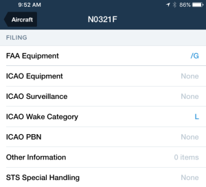 You need to set up the ICAO Equipment, ICAO Surveillance, and ICAO Wake Category fields