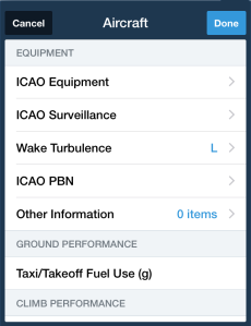 You need to set up the ICAO Equipment, ICAO Surveillance, and Wake Turbulence fields