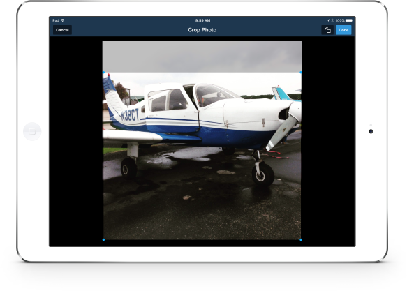 Crop and rotate photos from your device or camera