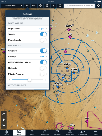 Aeronautical Maps settings