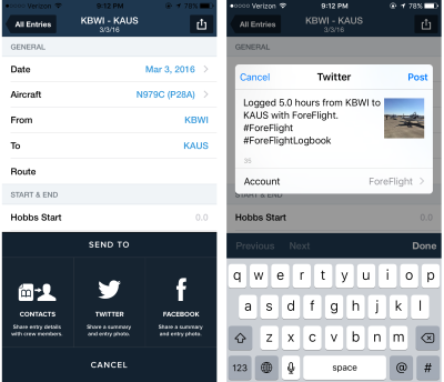 ForeFlight-Logbook-Twitter-Facebook-sharing