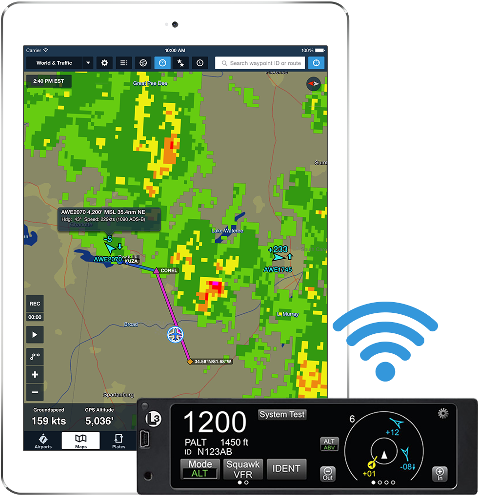 ads b foreflight connect to l 3 lynx to receive ads b traffic and weather and gps