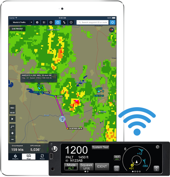 Connect to L-3 Lynx to receive ADS-B traffic and weather and GPS position in ForeFlight