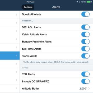 ForeFlight inflight alert settings