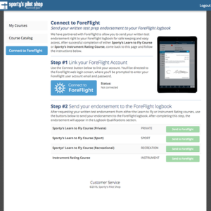 Connect Sporty's online course with ForeFlight Logbook